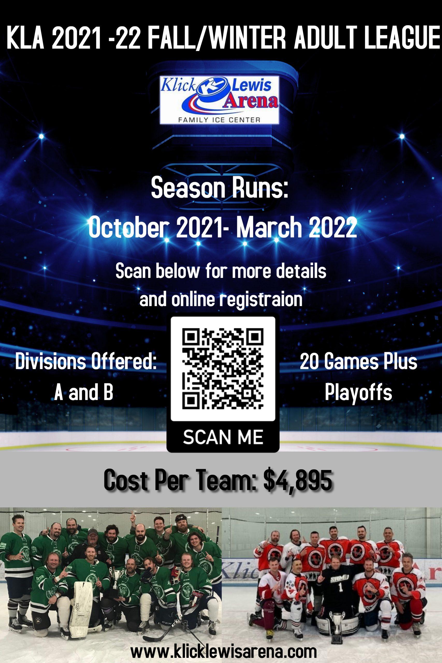 2021-22 KLA Fall Winter Mens League Poster